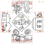 Farm Country IKEA stool cover rug hooking pattern