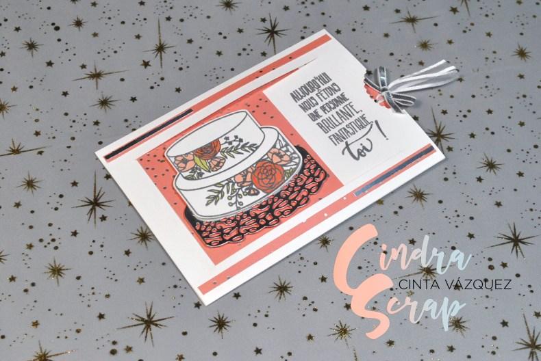 """Carte à message caché """"Gâteau Élégant"""""""