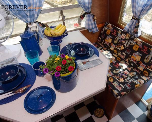 tinware, zinnias vintage campers