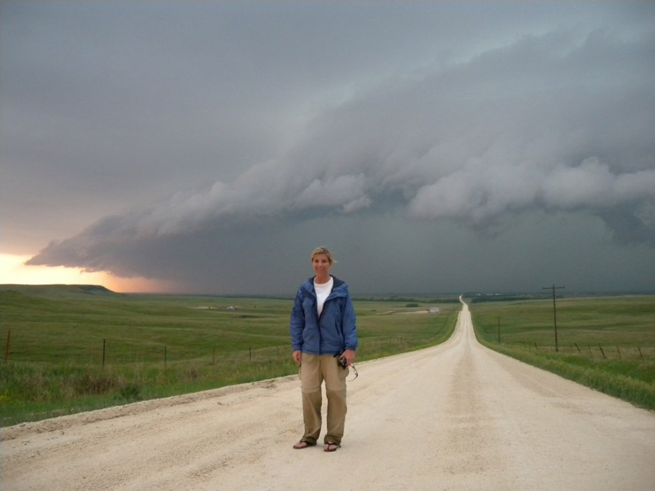 Author stands in front of supercell thunderstorm