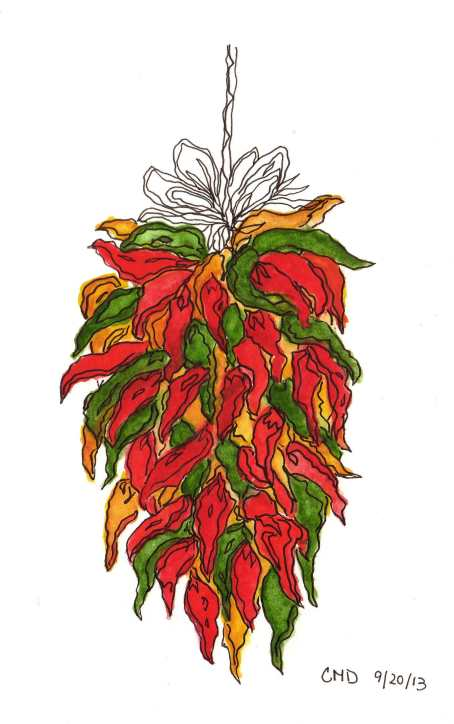 drawing of red, yellow, and green chili peppers
