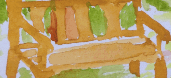 Watercolor painting of a park bench