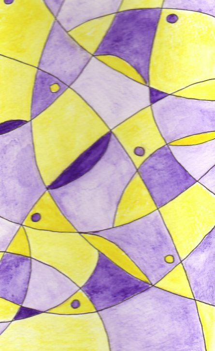abstract drawing with purple and yellow colors