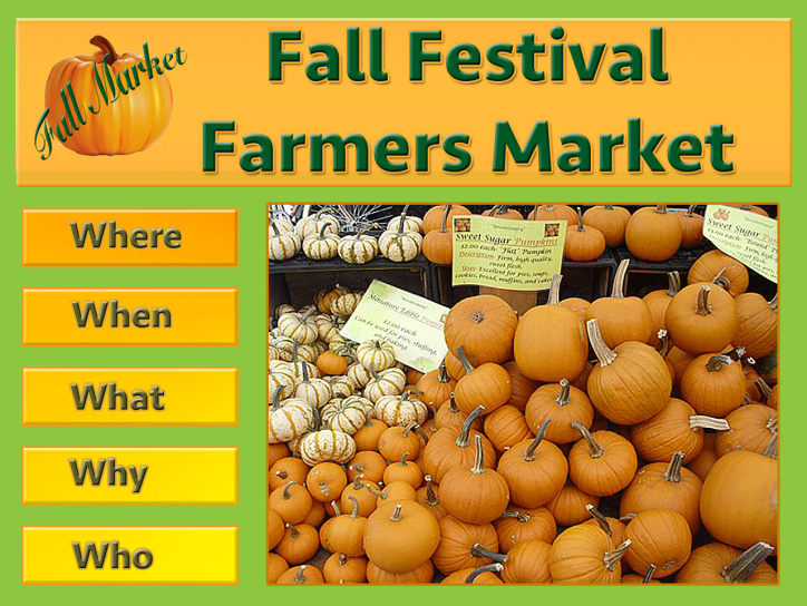 An image of a Web site for a farmers market