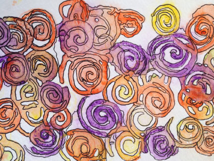Painting of orange and purple sprials