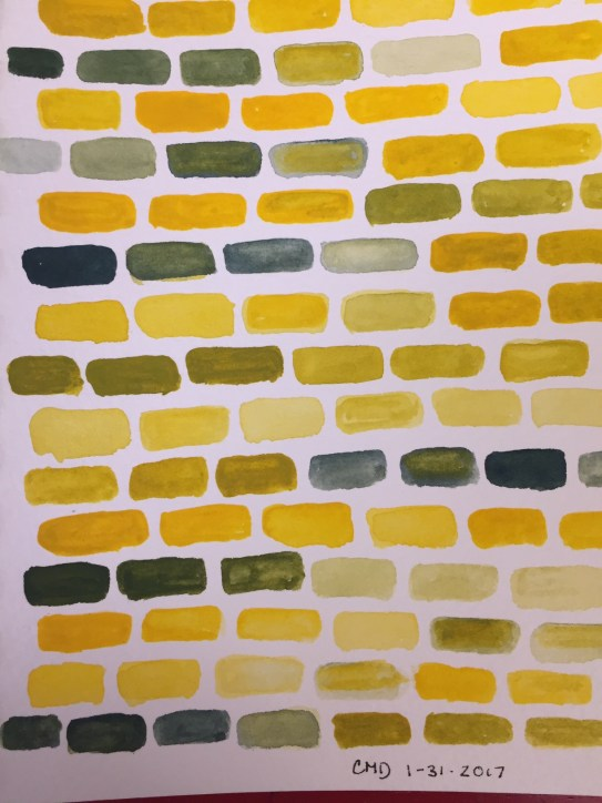 A painting of yellow bricks