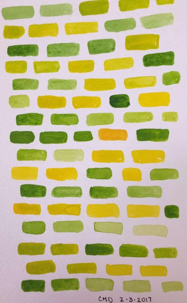 Watercolor painting of green bricks