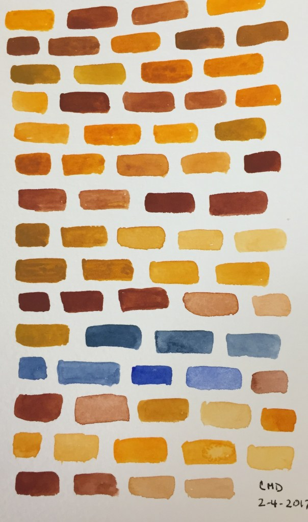 Painting of brown and yellow bricks
