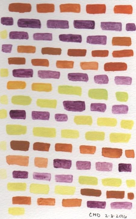 Watercolor painting of purplle bricks