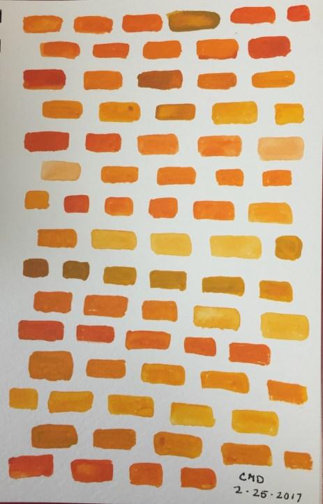 watercolor painting of orange bricks