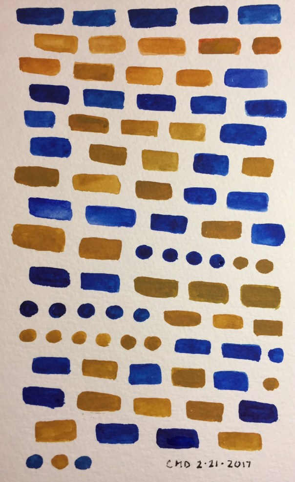 Watercolor painting of blue and brown bricks