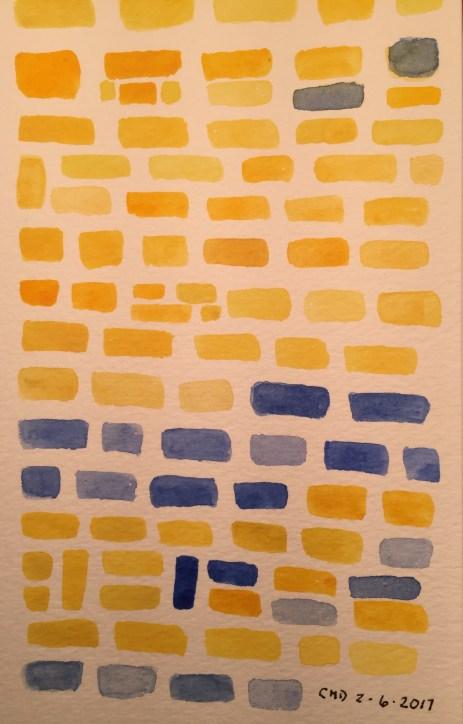 A painting of yellow bricks
