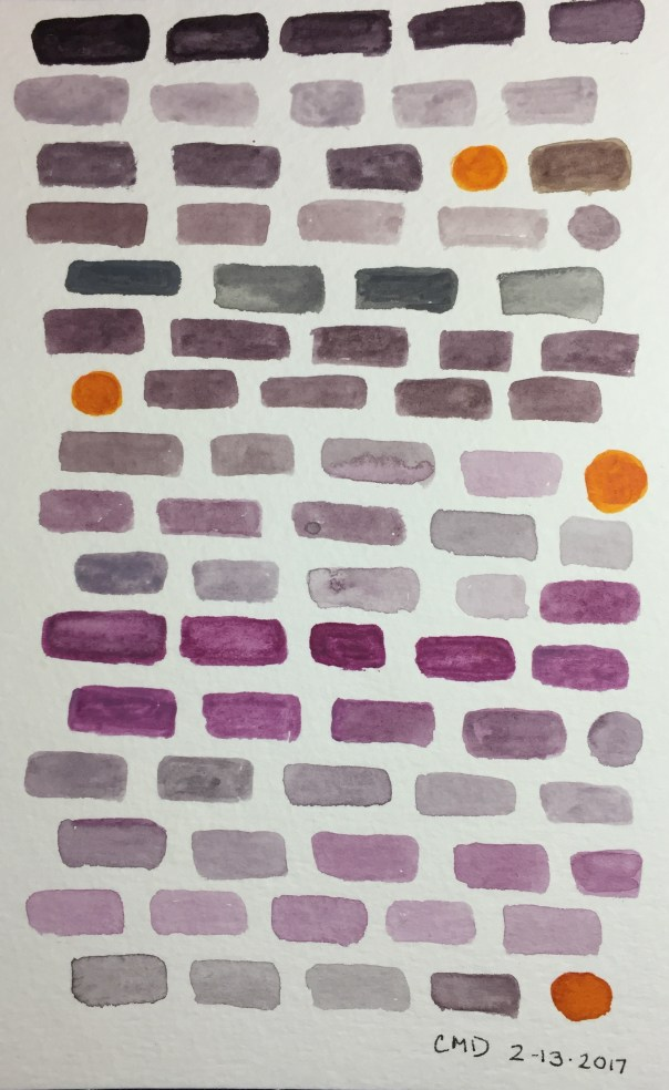 Painting of purple bricks