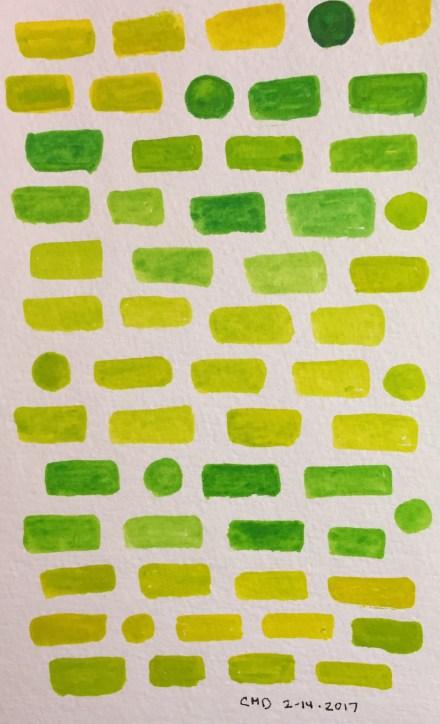 Watercolor painting of yellow and green bricks
