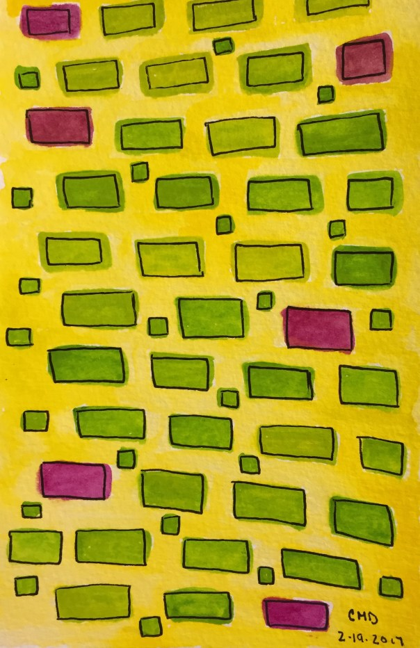 Watercolor painting of chartreuse bricks