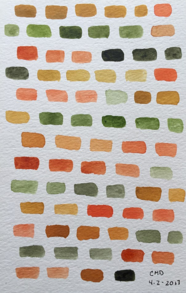 Watercolor painting of brown and orange bricks