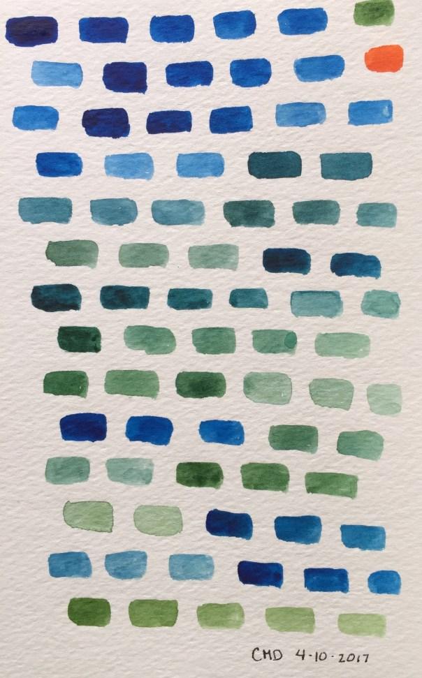 Watercolor painting fo blue bricks