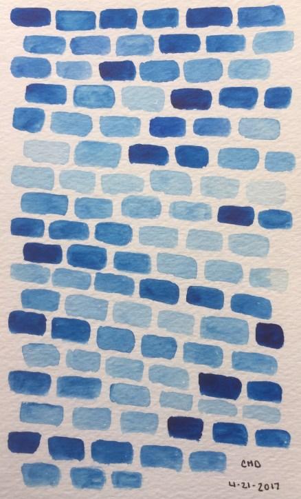 painting of light blue bricks