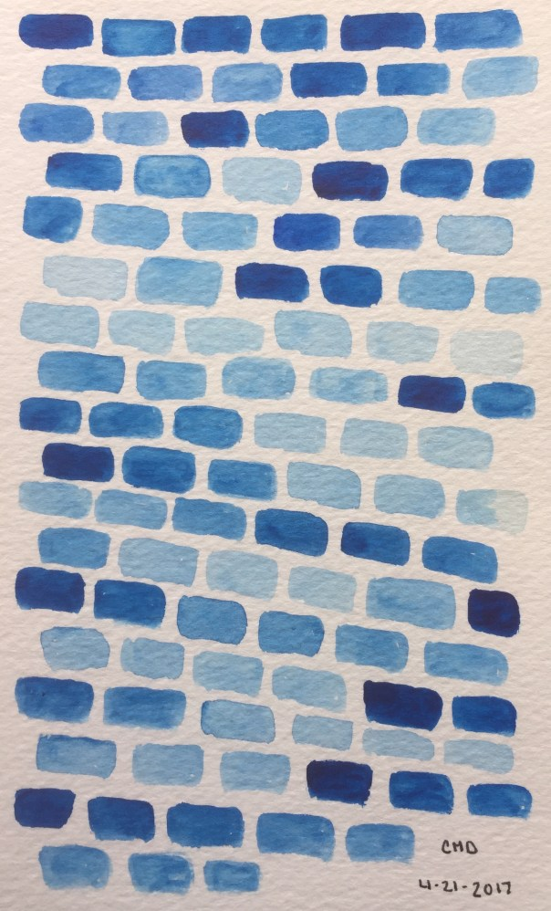 painting of light blue bricks