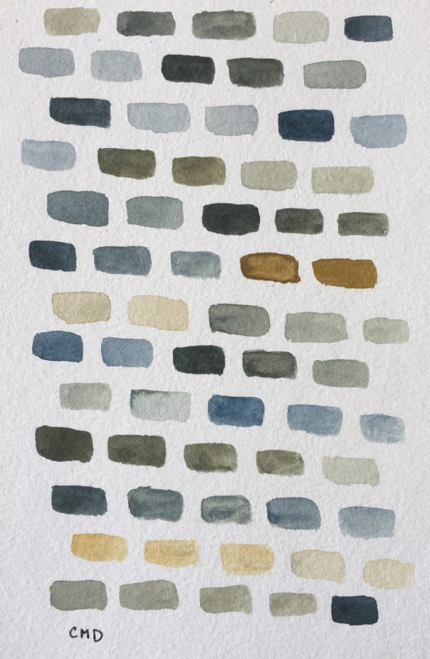 Watercolor painting of gray bricks