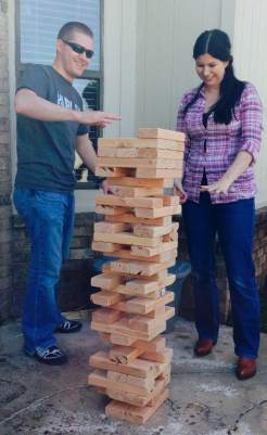 Westons second birthday Jenga