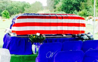 dads funeral flag draped