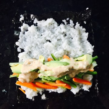 Vegan Nori Rolls with Spicy Tahini Sauce