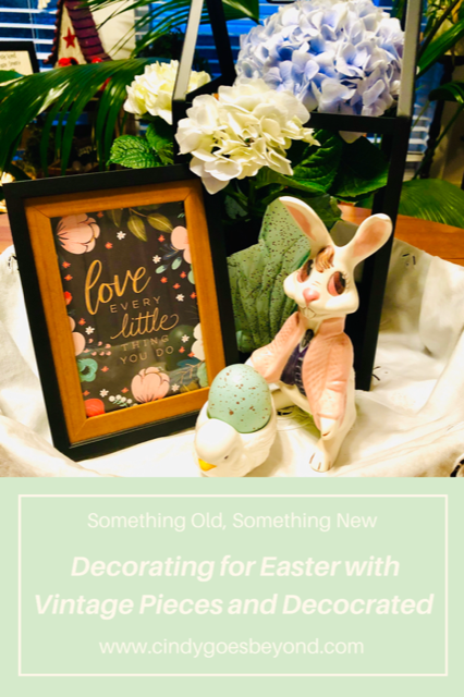 Decorating for Easter with Vintage Pieces and Decocrated title meme