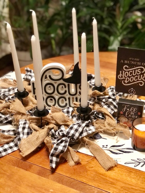 Decorating for Halloween with Decocrated candle ring