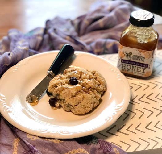 Farmers Lavender Co scone with honey