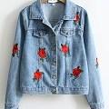 veste jean fleurs