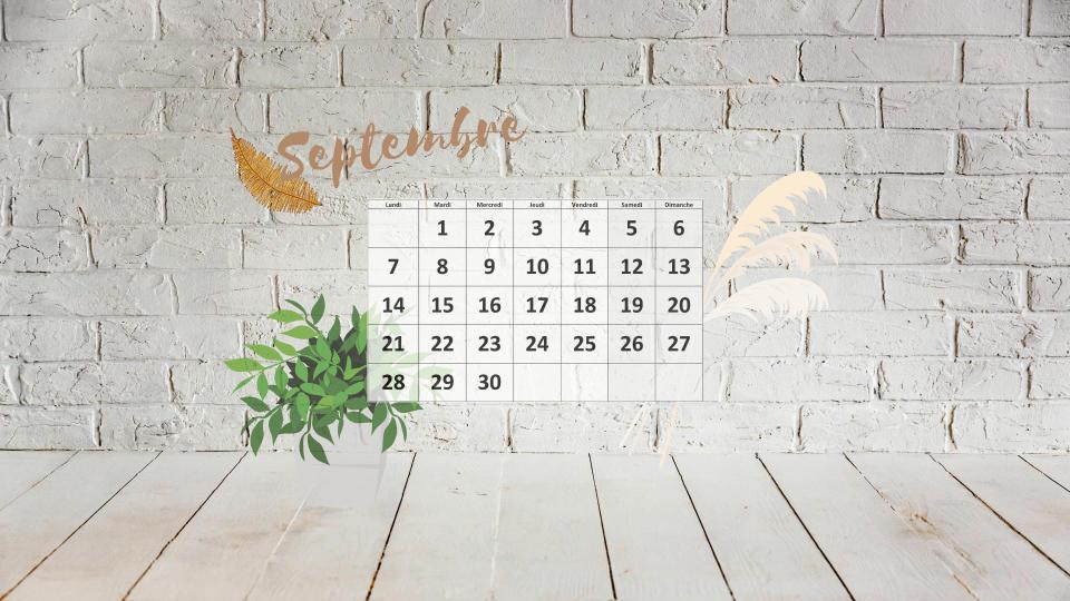 fond écran calendrier septembre