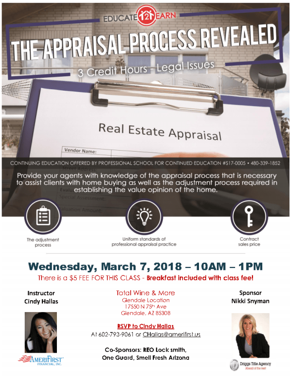 Cindy Hallas Appraisal Process Revealed CE class West Valley Realtors Glendale