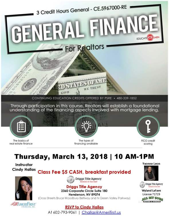 Cindy Hallas General Financing For Realtors CE class Henderson NV
