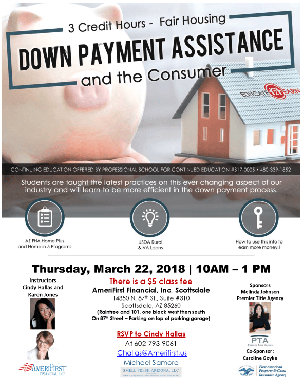 Cindy Hallas Down Payment Assistance CE class Scotsdale Realtors