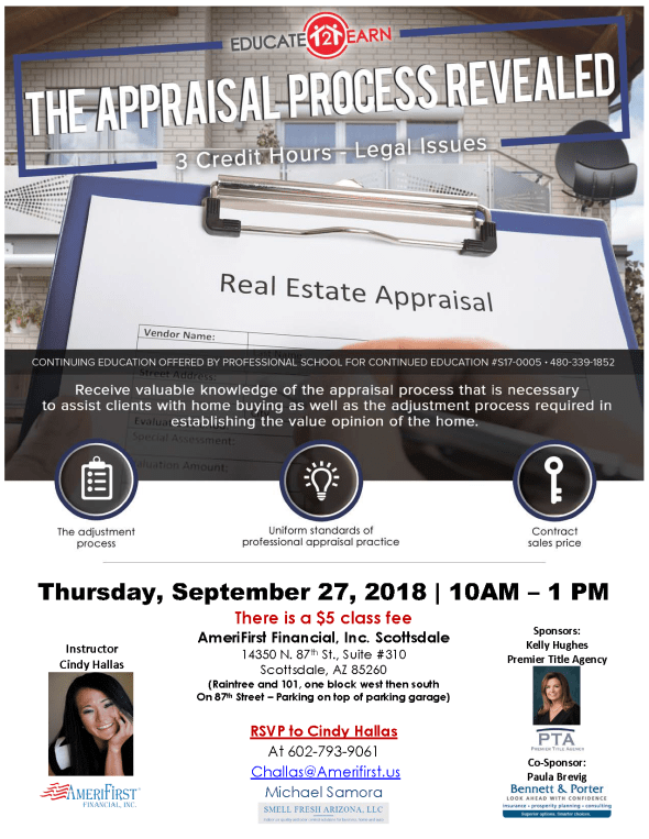 Cindy Hallas The Appraisal Process Revealed CE class North Scottsdale Realtors