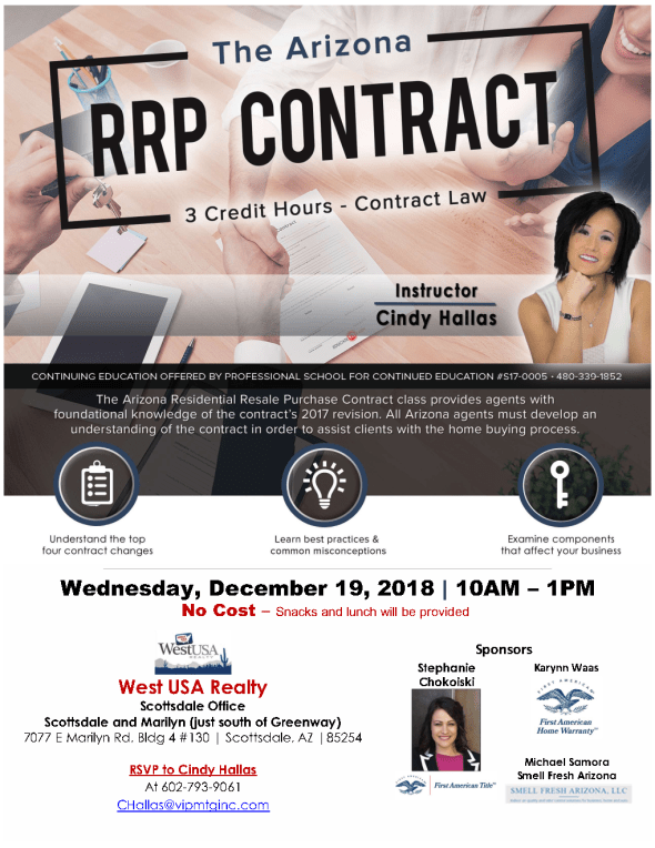 Cindy Hallas West USA Realty Contract Law CE class North Scottsdale