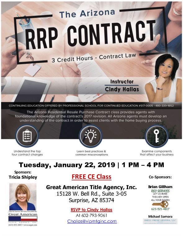 Cindy Hallas Arizona RRP Contract CE class Great American Title Surprise