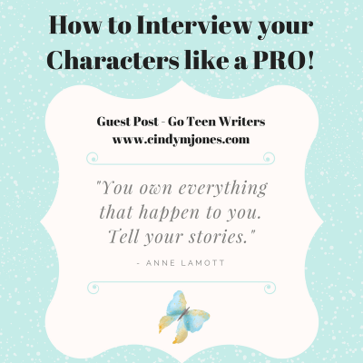 Guest Post for Go Teen Writers – How to interview your Characters like a Pro