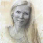 "Charcoal portrait of Nora Bernhardt • 20"" x 14"""
