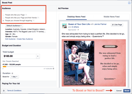 Choose a target market for your Facebook boost ad.
