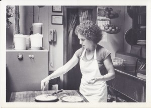 Cindy cooking at restaurant in the 80s