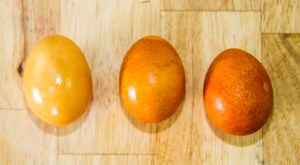 orange dyed easter eggs