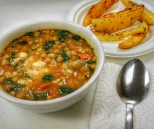 lentil soup with roasted potato wedges