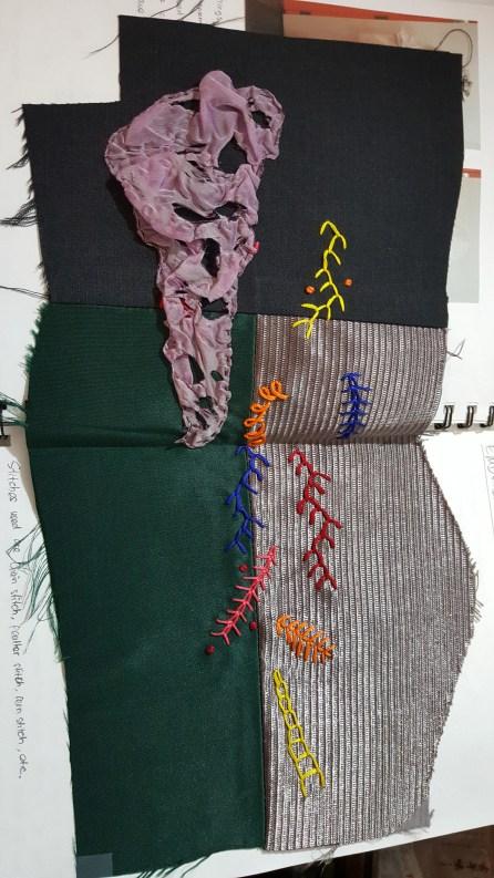 Embroidery sample and burnt chiffon sample