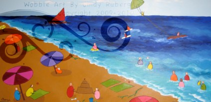 At the Beach: Acrylic on Canvas: 24x48 inches