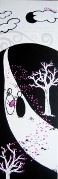 Black and White Blooming : Acrylic on Canvas: 8x24 inches
