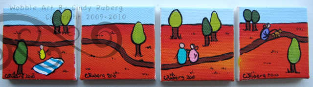 Through the Park Magnets: Acrylic on Canvas: 2x2 inches