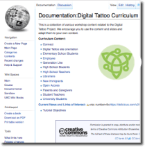 image of a wiki page with links to curriculum resources for the public.