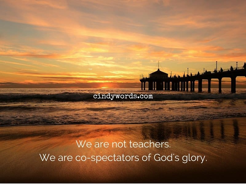 We are not teachers. We are co-spectators